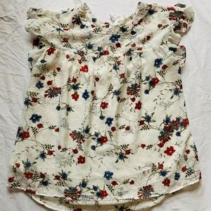 Short Sleeve Top - White and floral pattern